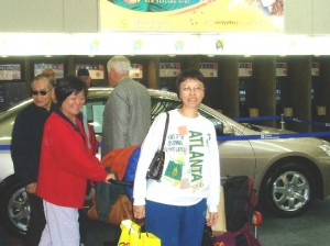 Writer's wife and others arriving at Auckland Airport for a flight home