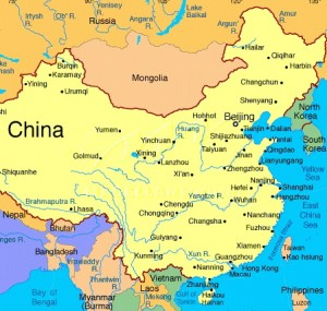 Map of China (Beijing is in the north-east of China)