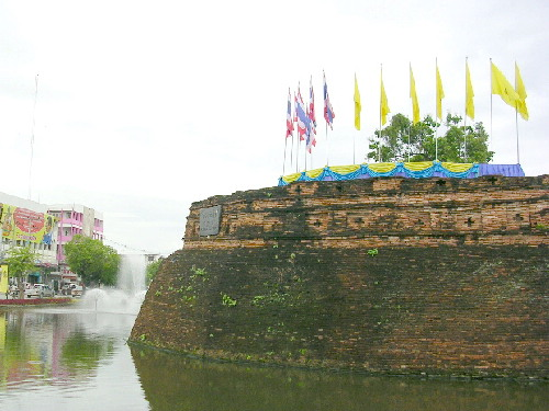 A moat and wall in the Chiang Mai old city