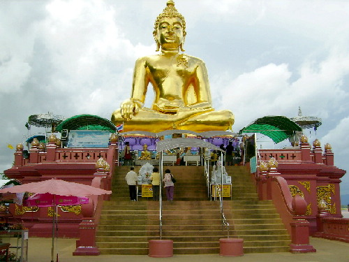 A Large Golden Statue of Buddha at the Golden Triangle