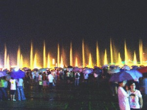 A musical fountain in Zhaoqing City