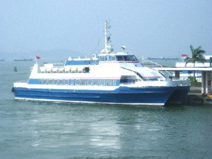 A ferry carrying passengers from Shekou Terminal, Shenzhen, to Hong Kong Airport