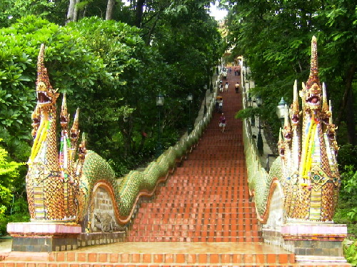 Naga Stairway of 306 steps to Wat Phratat Doi Suthep