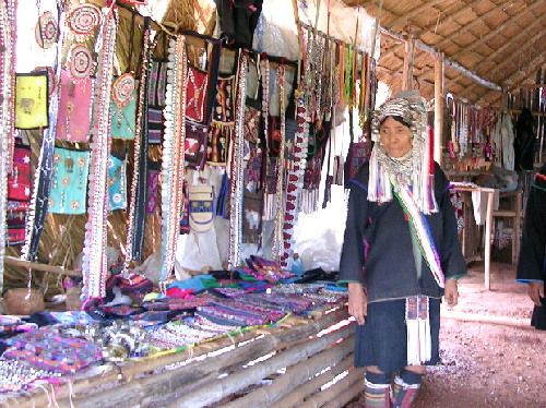 An Akha lady selling handmade articles