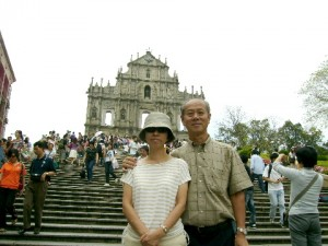 Writer and his wife at the Ruins of St. Paul's