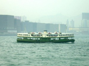 A Star ferry crossing Victoria Harbour