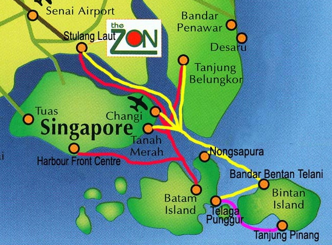 Location of Batam Island and the Ferry Routes