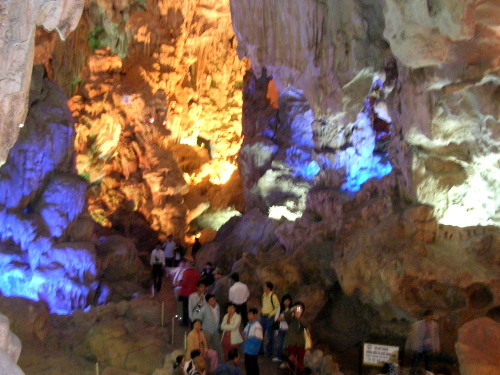 Indide the clean, brightly-lit Tieng Cung Cave, Halong Bay