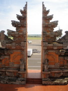 The Balinese iconic temple entrance displayed at Bali airport