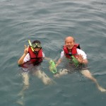 Write and his wife snorkelling in Ton Sai Bay, Phi Phi Don Island