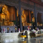 Three golden statues of Buddha in the Main Shrine