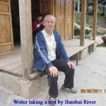 Writer taking a rest on the Baishui Riverside