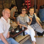 L to R: Writer, his wife and Ah Po at Ah Po's 'tofu' shop