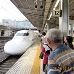 Arrival of a bullet train at Toyahashi Station