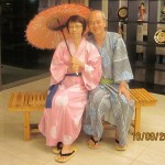 "Writer and wife in ""yukata"""