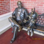 Statue of Roy Disney with Minnie Mouse
