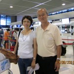 Writer and wife at Narita Airport waiting to go back to Malaysia