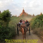 Riding horse-drawn carts to see pagodas in Bagan plain
