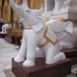 A kneeling elephant statue