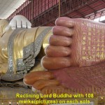 Reclining Lord Buddha Statue with 108 marks(pictures) on each sole