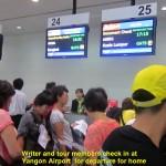 Checking in at the Yangon Internatinal Airport