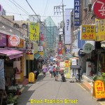 A narrow street of Sinchon Fashion Street