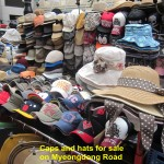 Caps and hats for sale on Myeongdong Road