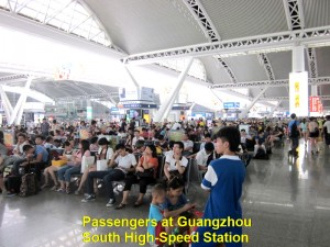 Passengers waiting for trains at Guangzhou South Station