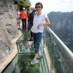 Writer's wife, Geik Peng, feeling relaxed on the glass-walkway