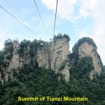 Cable-cars approaching Tianzi Mountain Summit