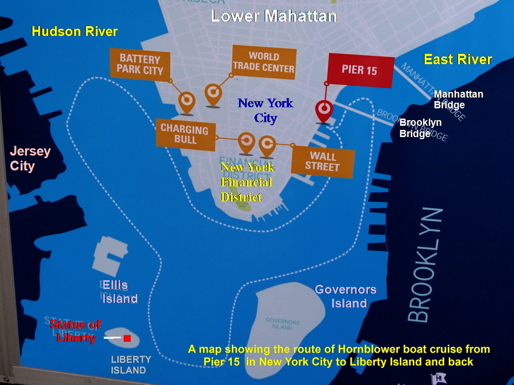 map showing the hornblower boat route from pier 15 to the statue of liberty and back