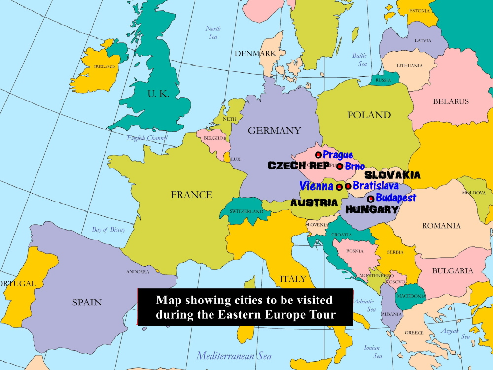 map of showing cities in east europe to be visited by choo chaw and other malaysians