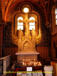 Crucifixion of Jesus Christ in a chapel in Matthias Church, Castle Hill, Budapest