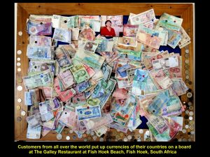 Foreign currencies pinned on a board by foreign customers of The Galley Restaurant