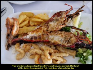The Galley Restaurant served many kinds of dishes, e.g. fried crayfish and prawn as shown in photo