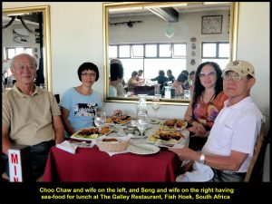 Choo Chaw and wife having lunch together with Seng and wife at The Galley Restaurant
