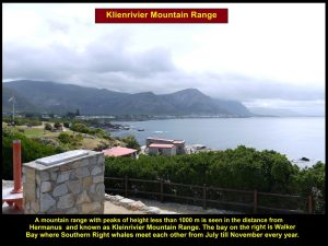 Klienrivier Mountain Range with peaks of height less than 1000 m in Hermanus