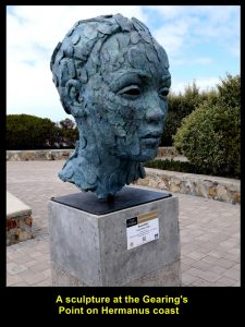 Sculpture of a head at Gearing's Point