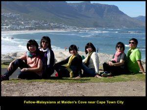 Fellow-Malaysians at Maiden's Cove enjoying sunshine and sea-breeze