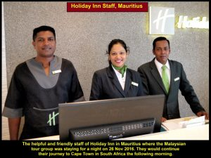 Friendly and helpful staff of Holiday Inn, Mauritius