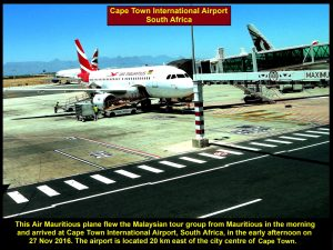 This Air Mauritius plane flew the tour group from Mauritius to South Africa