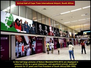 Pictures of Nelson Mandela in airport arrival hall