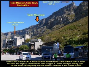 Lower Cable Station(363 m) is connected to the Upper Cable Station(1069 m) by a 1200 m long-cableway