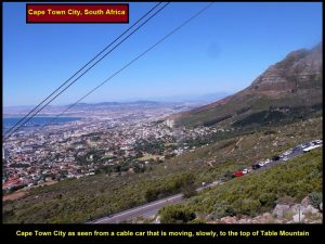 The spectacular view of the city of Cape Town as seen from the moving, rotating cable-car