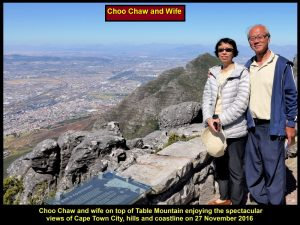 Choo Chaw & wife on top of Table Mountain enjoying the spectacular views of Cape Town