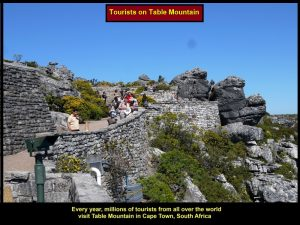 Many tourists enjoying themselves on Table Mountain