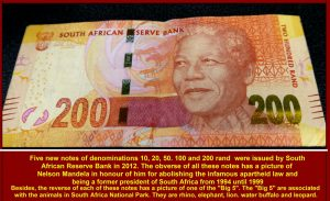 All the 5th. issue of the South African bank notes have a picture of Nelson Mandela, the former President of South Africa