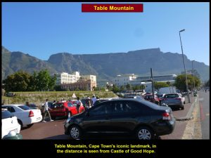 A stunning view of Table Mountain in the distance as seen from Castle of Good Hope