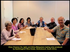 Choo Chaw(right) and fellow-Malaysians tasting wine