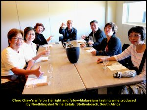 Choo Chaw's wife and others tasting wine